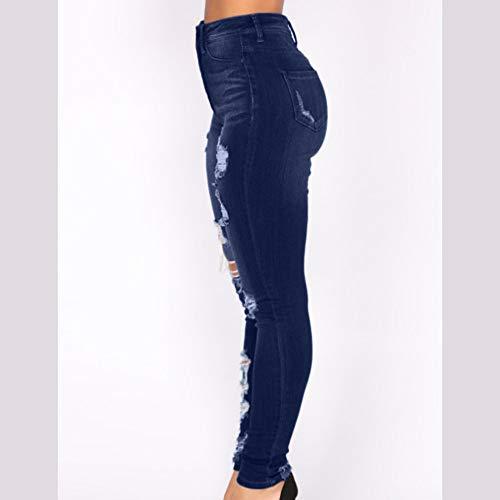 Delgados Alta Vaqueros Strir Mujer Grandes Flacos Mezclilla Largos Tallas Cintura Pantalones Elástico Rotos Slim Skinny Jeans Leggins De Para Fit Ra1wqIa