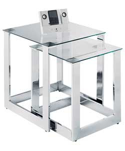 Brazil clear glass chrome nest of tables set amazon brazil clear glass chrome nest of tables set watchthetrailerfo