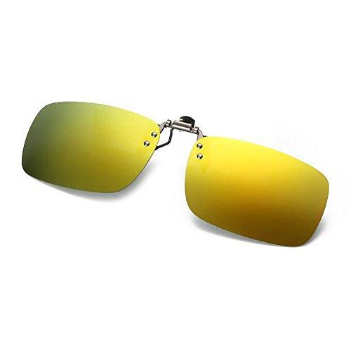 Gafas UV400 Hombre Oro Flip sol reflejante Hzjundasi de Espejado Clip Mujer up on Polarizado Metal Proteccion Marco Anti Gafas Lente aqwxqt74H