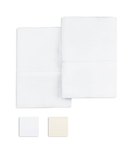 Pizuna 1000 Thread Count Pillow cases, Pure White King, Set of 2 Qty's, 100% Long-Staple Cotton, Sateen Weave, Stylish 4-inch Hem by Linens (100% Cotton Pillowcases, White King)
