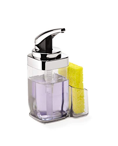 simplehuman Precision Lever Square Push Soap Pump With Removable Caddy, Chrome And Plastic, 22 fl. oz. (Dish Soap Simplehuman)
