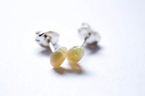 Welo Opal Earrings - Bohemian Earrings - Solid Sterling Silver Stud Posts