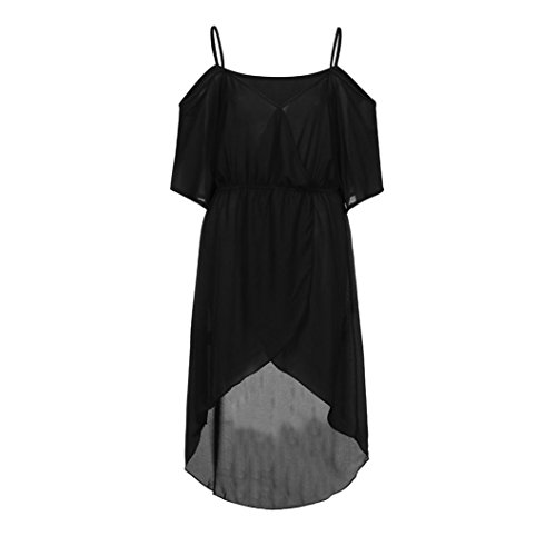 Ladies Size Solid Off Kanpola Womens Plus Chiffon Shoulder Loose Color Camisole Collar Fit Black Cross Dress Sexy Summer Flare Bwqwg5Xx1