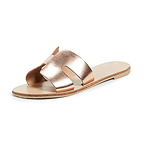 FISACE Womens Greece Slip On Flat Sandal Summer Beach Notch Cut-Outs Flip Flop Slides