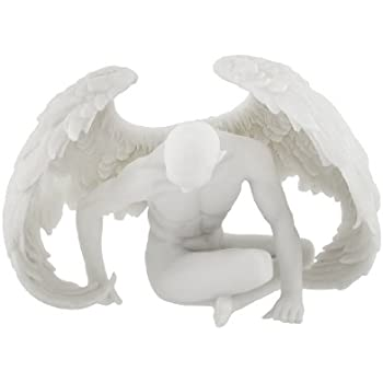 Nude Winged Male Angel Sitting Marble Finish Statue