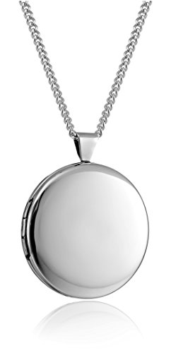 Rhodium 26mm 1 Personalized with Initial M Heart Chain Locket Necklace 24