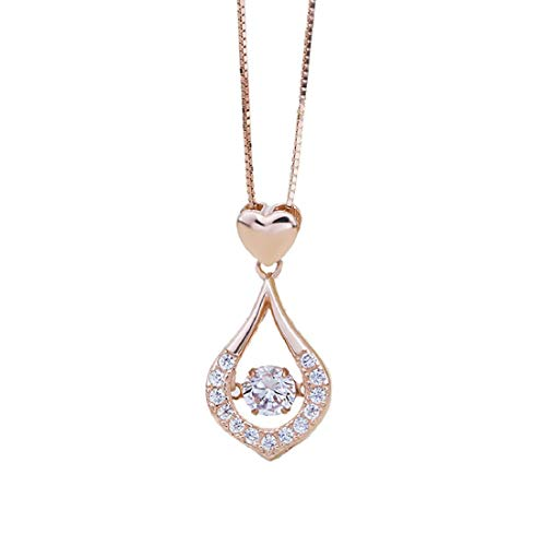 (Yeefant Women's Lady Twinkling Heart Waterdrop Stone Necklace Women Pendant Necklace Jelwery Mothers Day Girlfriend Birthday Gift Wedding Anniversary)