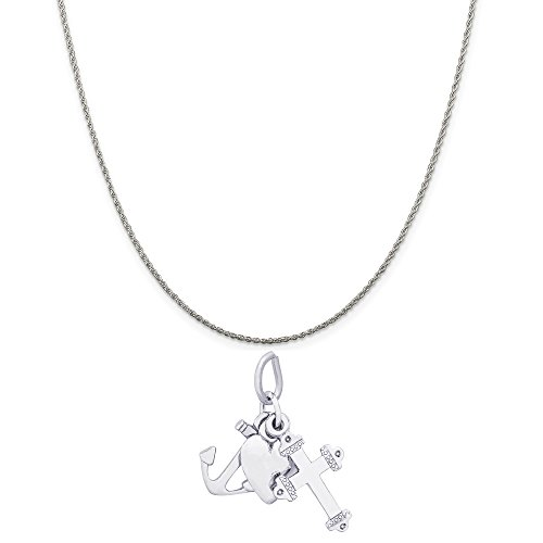 Rembrandt Charms Sterling Silver Faith, Hope, Charity Charm on a Rope Chain Necklace, 18
