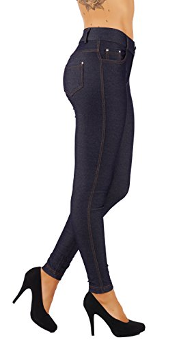 Pants Jeans Rhinestone (5StarsLine Women's Jean Look Jeggings Tights Slim Fit Pull Up Pants Solid Colors Full Length and Capri Casual Leggings (1X USA 14-16, 5S01-L-NVY))