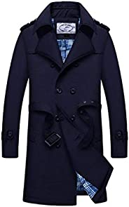 Men Trench Coat Jacket Slim Fit Long Lightweight Double Breasted Windbreaker Classic Overcoat Jackets with Bel