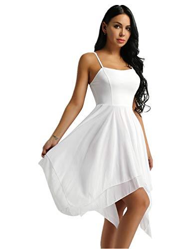 iiniim Lyrical Women Ballet High Low Dance Flowy Dress Leotard Adult Camisole Dresses White Medium]()
