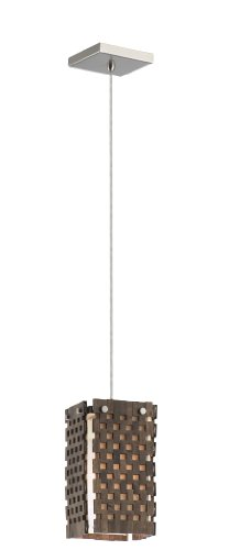 - Forecast Lighting F1947-36 Tahitian Breeze One-Light Mini-Pendant with Natural Bamboo Shade and Vanilla Fabric Liner, Satin Nickel