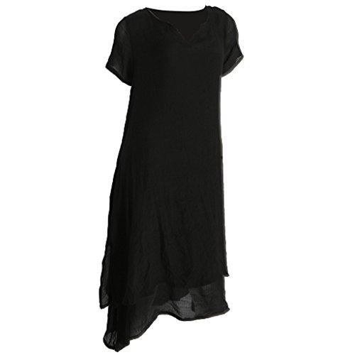 MagiDeal Vestido de Mujer Vendimia 2 en 1 Viste Vestidos de Lino Respirable de Algodón de Verano negro