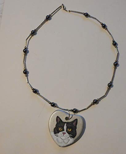 British Shorthair Cat Necklace Hand Painted Ceramic Pendant