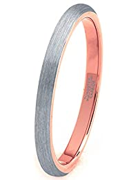 Tungsten Wedding Band Ring 2mm Men Women Comfort Fit 18k Rose Gold Grey Plated Dome Brushed