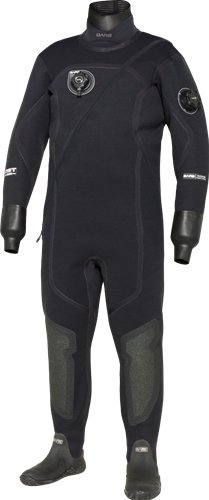 Bare XCS2 Crushed Neoprene Tech Dry Men's Drysuit (Medium-Large Tall, Black) (Best Crushed Neoprene Drysuit)