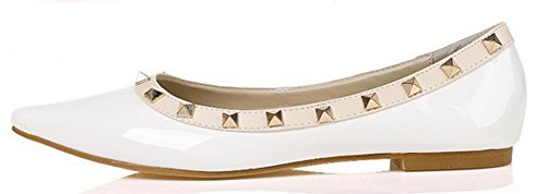 Aisun Women's Comfy Slip On Pointy Toe Loafer Flat Shoes White c6Y2qvL7Mj