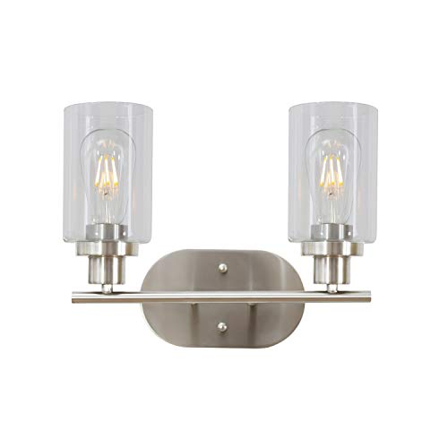 - 2 Light VINLUZ Bathroom Vanity Light Brushed Nickel Industrial Wall Sconce Fixtures for Porch Bathroom Kitchen Workshop