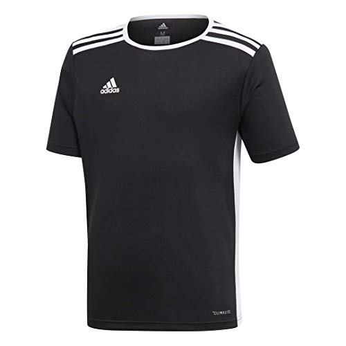 (adidas Youth Entrada 18 Jersey, Black/White, Large)