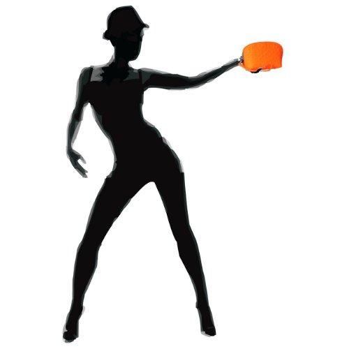 CASPAR Damen Tasche / Handgelenkstasche / Kosmetik Tasche aus Leder mit Straussprägung - neon orange