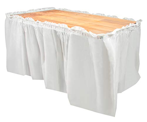 Disposable Table Skirts - 6-Pack Ruffled Plastic Table Skirts - Perfect for Weddings, Engagement Parties, Birthdays, Business Events, Baby Showers, White, Suitable for Tables Up To 8 Feet Long]()