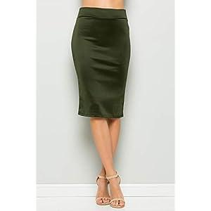Junky Closet Women's High Waist Stretchy Office Midi Pencil Skirt (Made in USA)