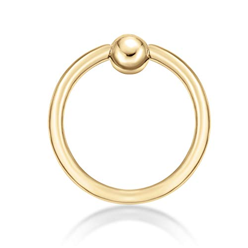 Lavari - 14K Yellow Gold Captive Bead Hoop Lip Eyebrow Belly Nipple Ring 16G 3/8