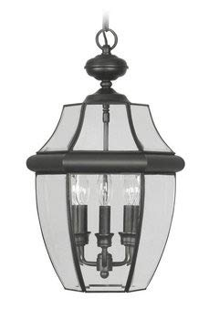 Livex Lighting 2355-04 Monterey 3 Light Outdoor Black Finish Solid Brass Hanging Lantern with Clear Beveled Glass