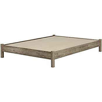 this item south shore munich platform bed 60 on legs weathered oak queen - Wood Platform Bed Frame