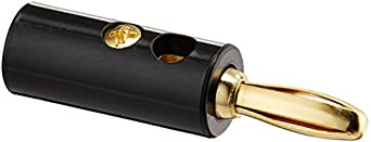 Hubbell Wiring Systems SPPBK10 Gold Plated Brass Audio/Video Speaker Post Banana Plug Connector, Black