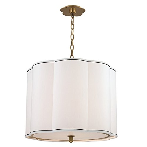 Sweeny 4-Light Pendant - Aged Brass Finish with White Faux Silk Shade