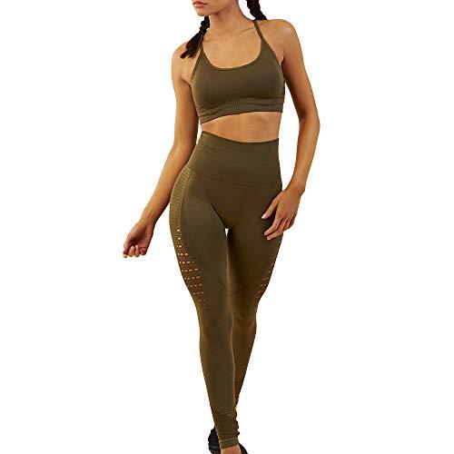 WODOWEI Women 2 Piece Outfits Leggings+Sports Bra Yoga Set Long Pants Tracksuits (YO316-green-S)