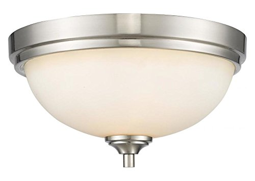 435F2-BN Brushed Nickel Bordeaux 2 Light Flush Mount Ceiling Fixture with Matte Opal Glass Shade