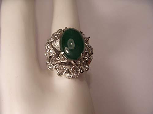 Gorgeous Estate 14K White Gold Baguette Diamond Jade Ring
