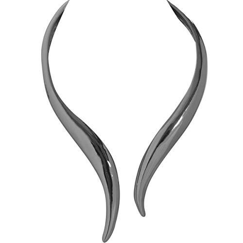 Humble Chic Hinge Bib Necklace - Oversized Asymmetrical Statement Collar Open Choker, Rhodium-Tone, Simulated Hematite, Metallic Black