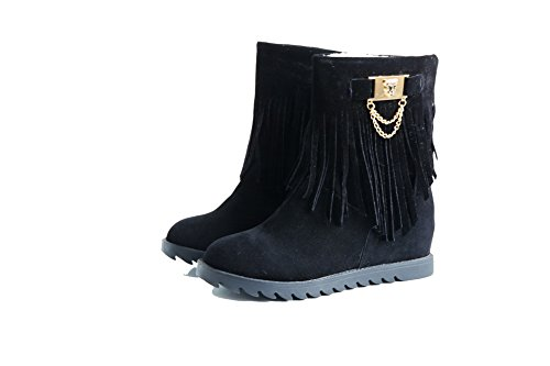 AllhqFashion Womens Round Closed Toe Low-Heels Frosted Low-Top Solid Boots with Tassels Black wAvXvW9BV