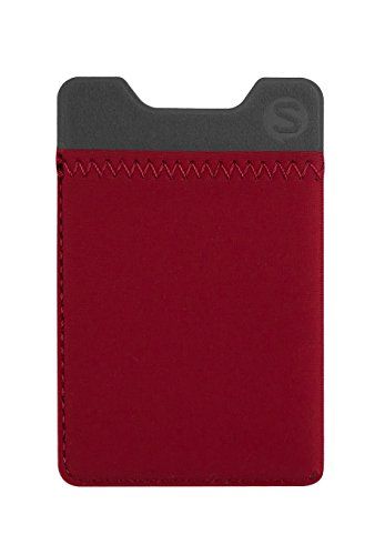 - Silk Stick-on Phone Wallet - Sidecar Slim Expandable Credit Card Pocket - Fits iPhone and Android (Crimson Red)