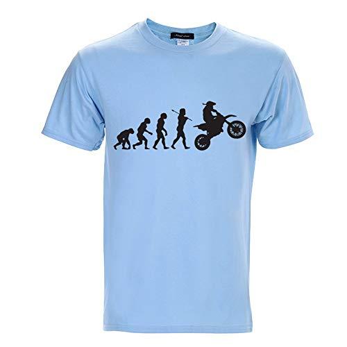 Spring and Summer Men's Cotton Short-Sleeved T-Shirt Wathet XXXL
