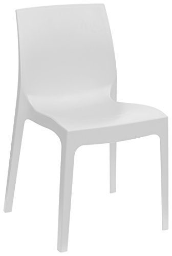 Euro Set Chair - Rome Stackable Patio Dining Chair - White - 4 Piece Set - Heavy Duty Plastic - Euro Design (4)