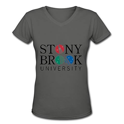 Arilce T Shirt,Stony Brook University Tees V Neck Women's Blouse Deep Heather XXL ()