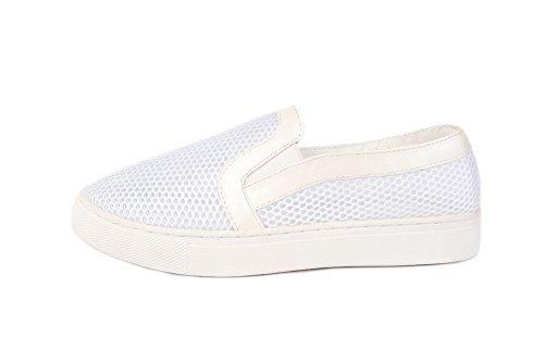 AllhqFashion Damen Niedriger Absatz Ziehen auf Weiches Material Rund Zehe Pumps Schuhe Weiß