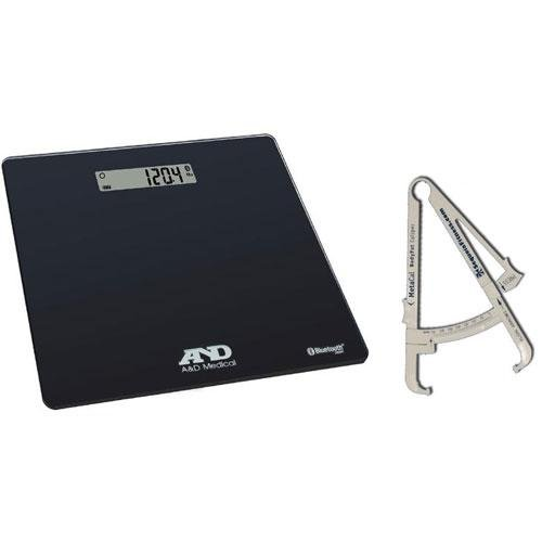 Price comparison product image LifeSource UC-352BLE Deluxe Bluetooth Body Weight Scale 450 x 0 2 lb with FREE BodyFat Caliper