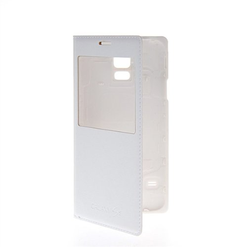 GETLAST [White] Fashion Style Smart View Ultra Thin Leather Wallet Battery Back Cover For Samsung Galaxy S5