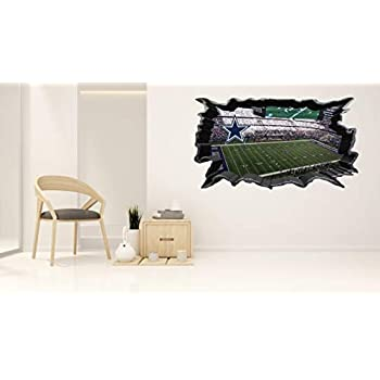 Dallas Cowboys Stadium - Football Stadium - 3D Smashed Wall Effect - Wall Decal for Home Bedroom Decoration (Wide 40