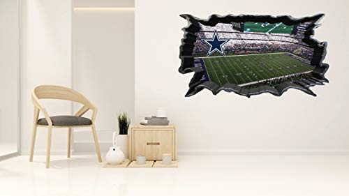 Dallas Cowboys Stadium - Football Stadium - 3D Smashed Wall Effect - Wall Decal for Home Bedroom Decoration (Wide 15