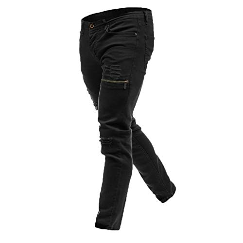 Con Uomo Strappati Jeans Zip Junkai Skinny Sfilacciati Elasticizzati Da Nero Pantaloni Aderenti YqxSB08