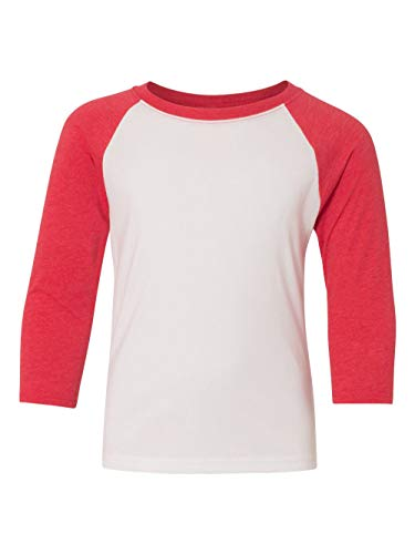 Next Level Big Boy's 3/4-Sleeve Rib-Knit T-Shirt, Small, Red / White ()