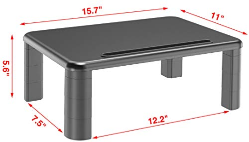 2-Pack Adjustable Monitor Stand with Storage Organization. Sturdy, Durable, No-Vibration Support. Convenient Slots for Tablet or Phone & Cables. Perfect Riser for Laptop, Printer. Stylish Black by Husky Mounts (Image #2)