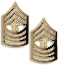 Marine Corps Collar Device (Marine Corps Master Gunnery Sergeant 22K Gold Finish Collar Device Rank Insignia Pair)