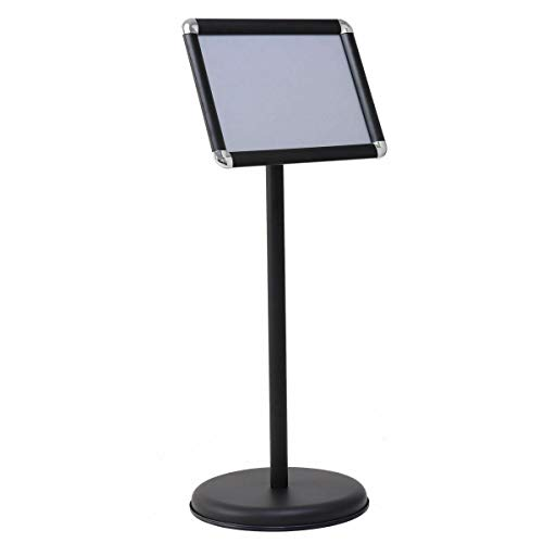 "9.5"" x 13"" Graphics Height Adjustable Aluminum Sign Holder Snap Open Frame Pedestal Poster Stand Display w/Round Base - Black with Ebook from NanaPluz"